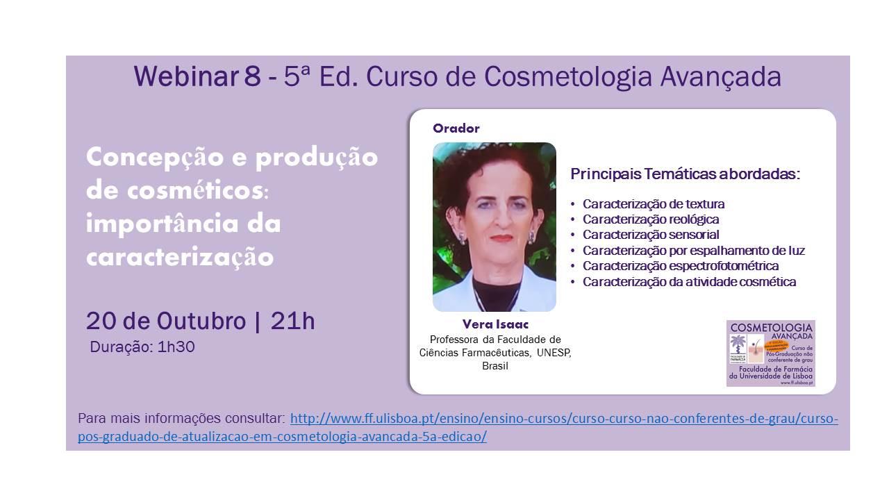 """Webinar """"Concepção e produção de cosméticos: importância da caracterização"""""""